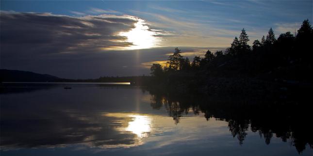 Big Bear Dam Sunrise Reflection